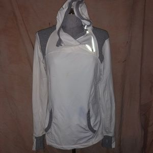Lululemon NEW white pull over asymmetrical zip hoo